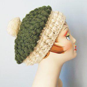 Vintage Hand Knit wool Beret Pom Pom Hat